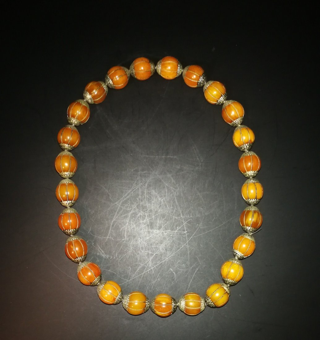 Chinese Amber and sterling silver  Necklace