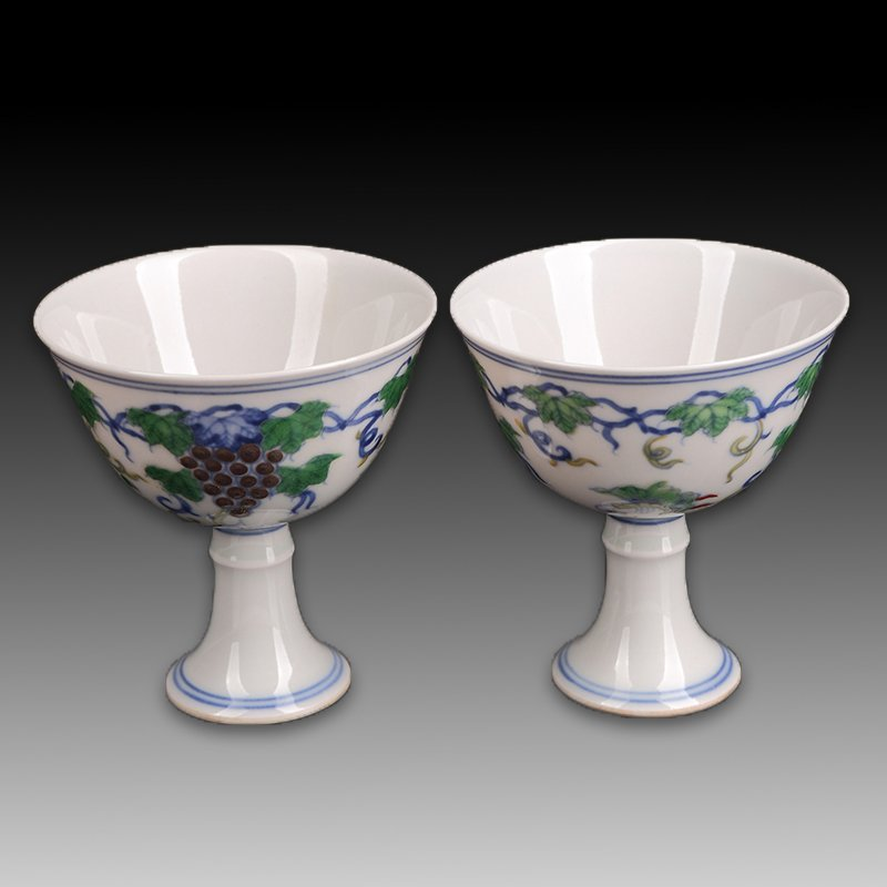 Pair of Chinese Doucai Thin Porcelain Cup