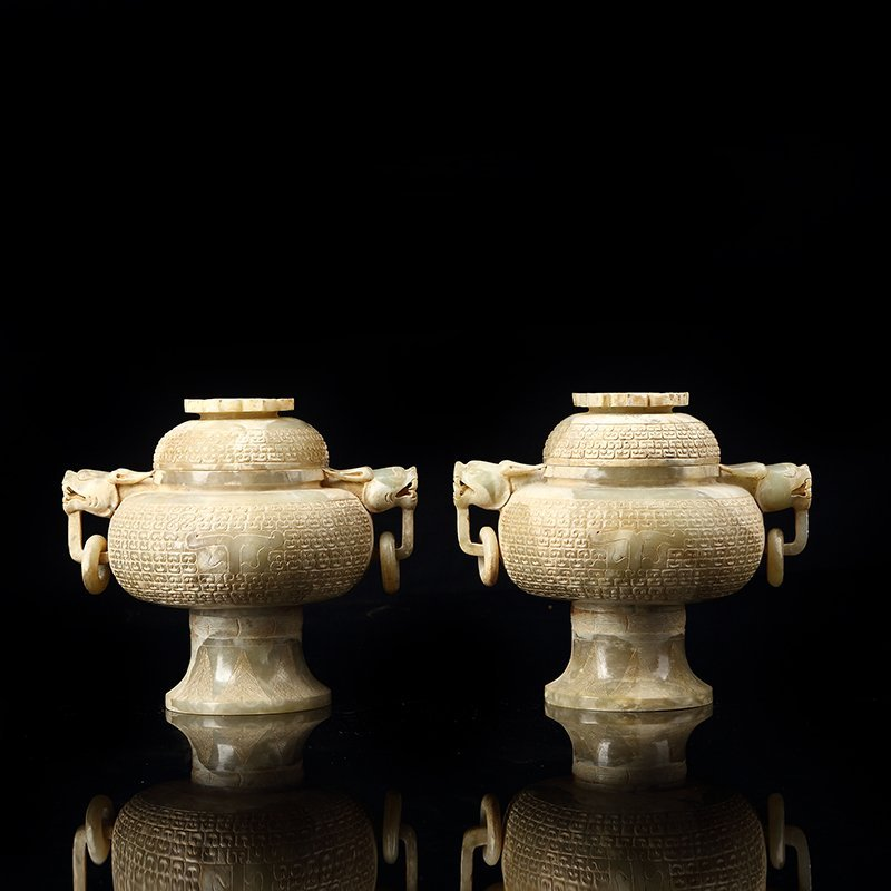 Pair of Chinese Hetian Jade Dragon Head Incense Burner