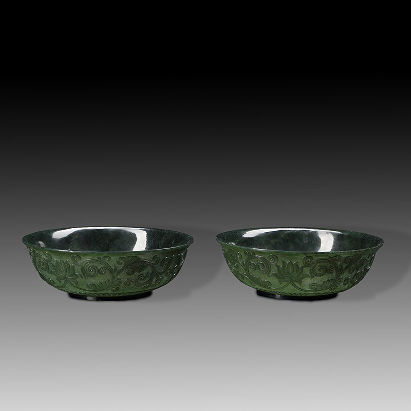 Pair of Chinese jade bowls