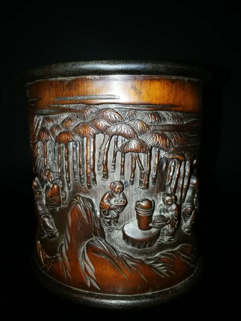 Chinese Qing Dynasty Bamboo Brush Pot - 3