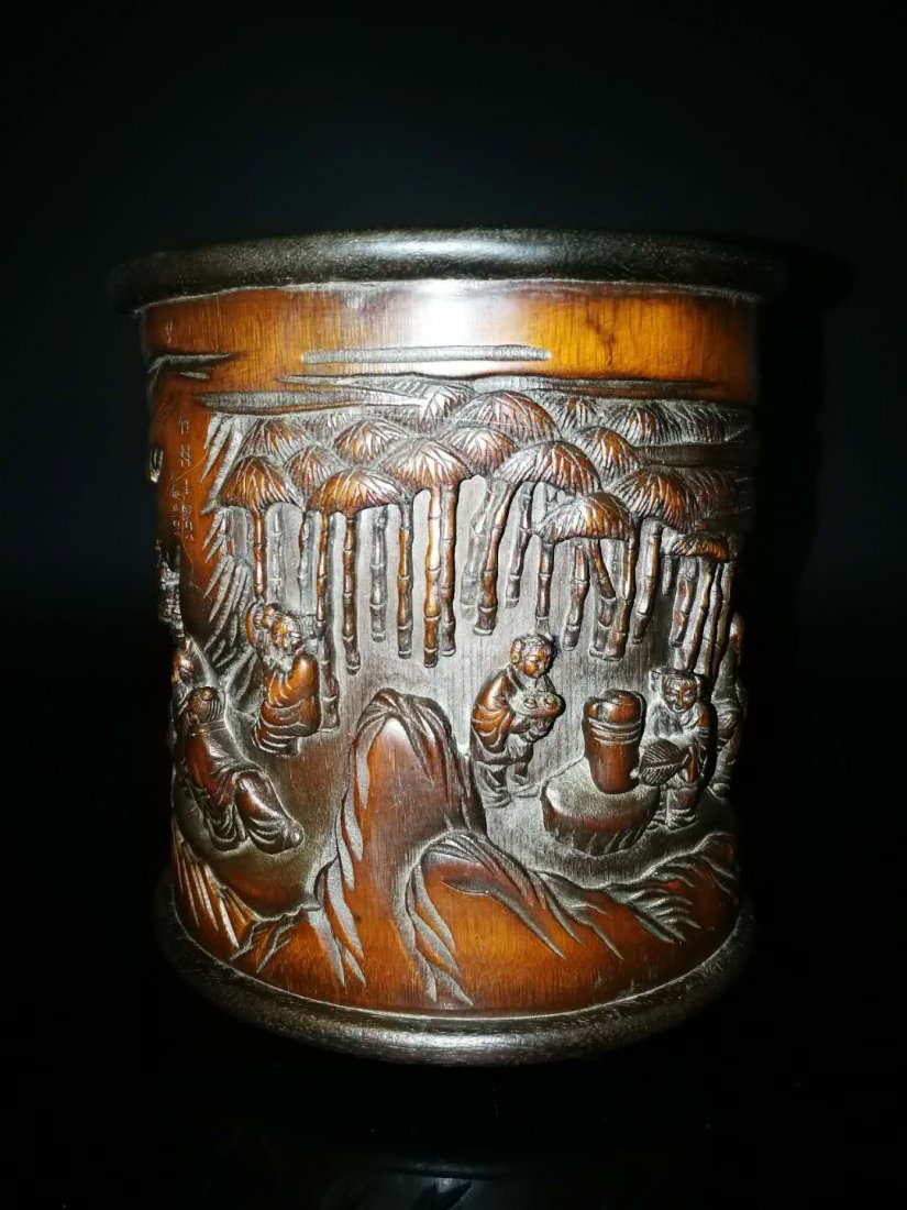 Chinese Qing Dynasty Bamboo Brush Pot - 4