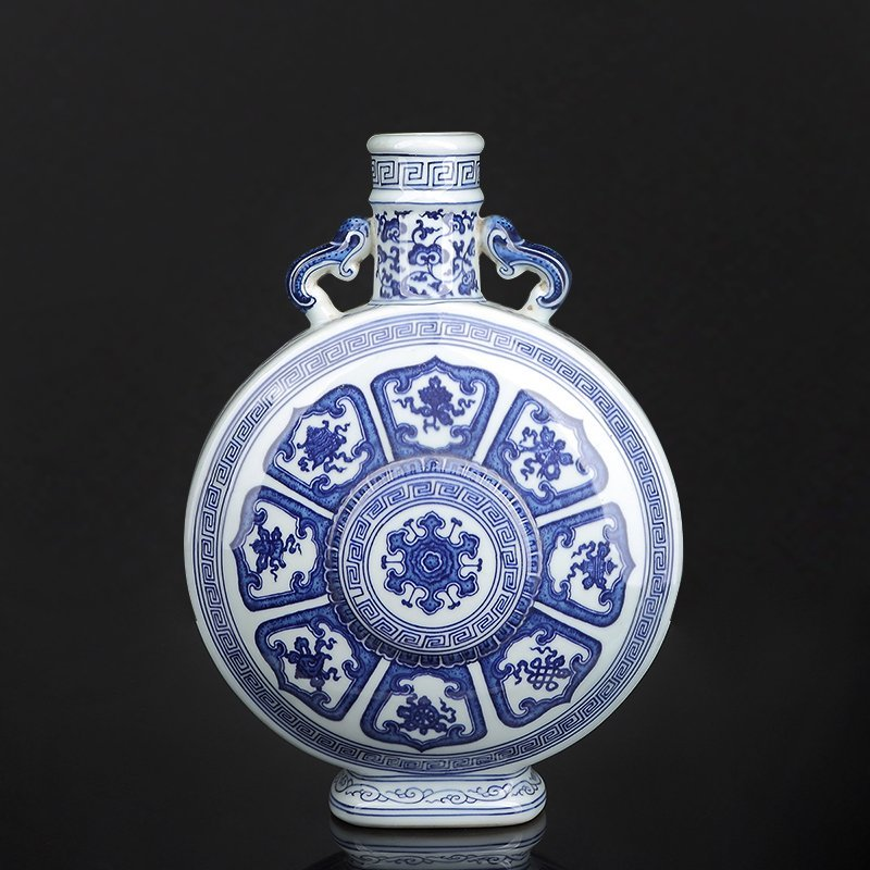 Chinese Blue and White Moon Flask - 4