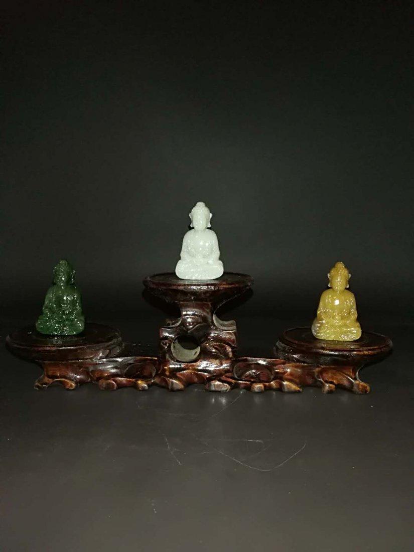Chinese Qing Dynasty Hetian Three Jade Buddhas