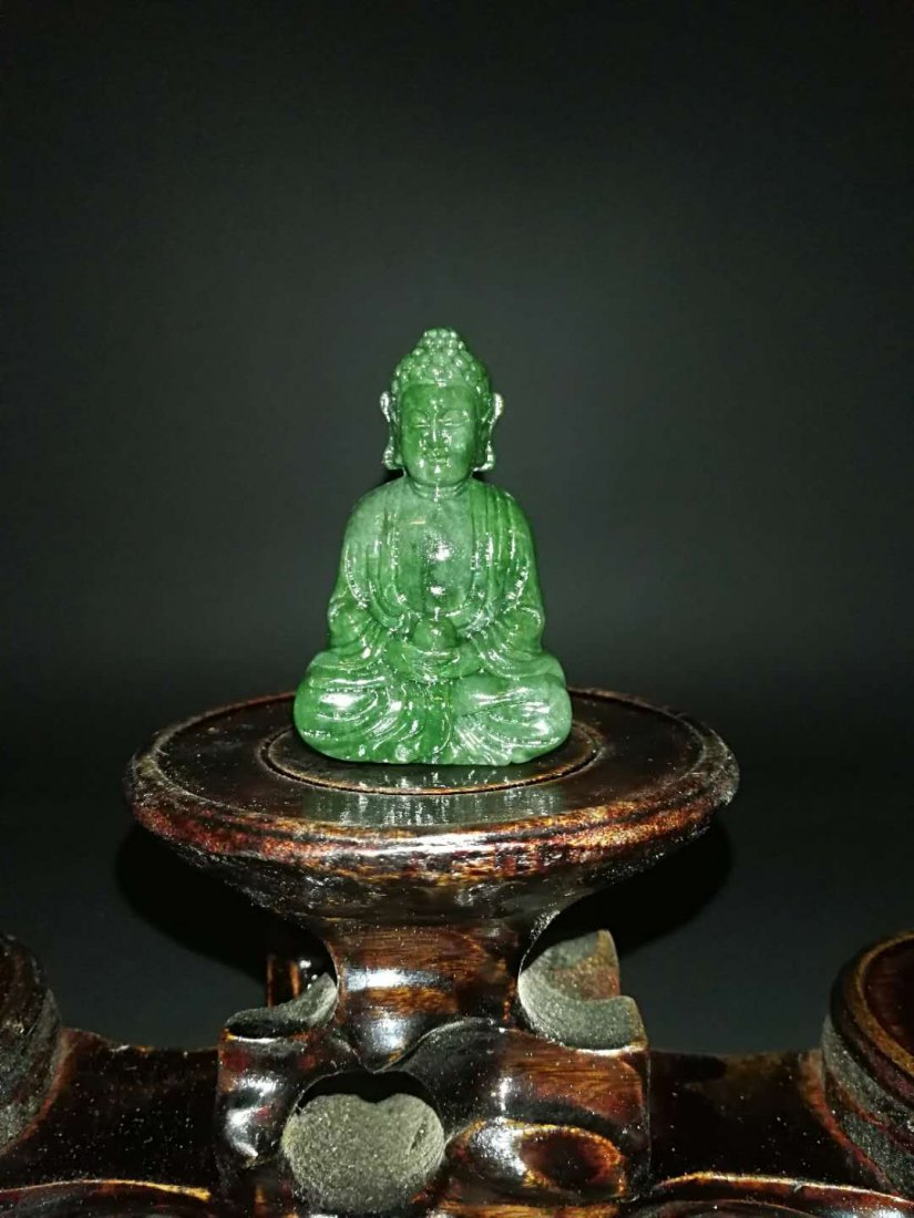 Chinese Qing Dynasty Hetian Three Jade Buddhas - 4