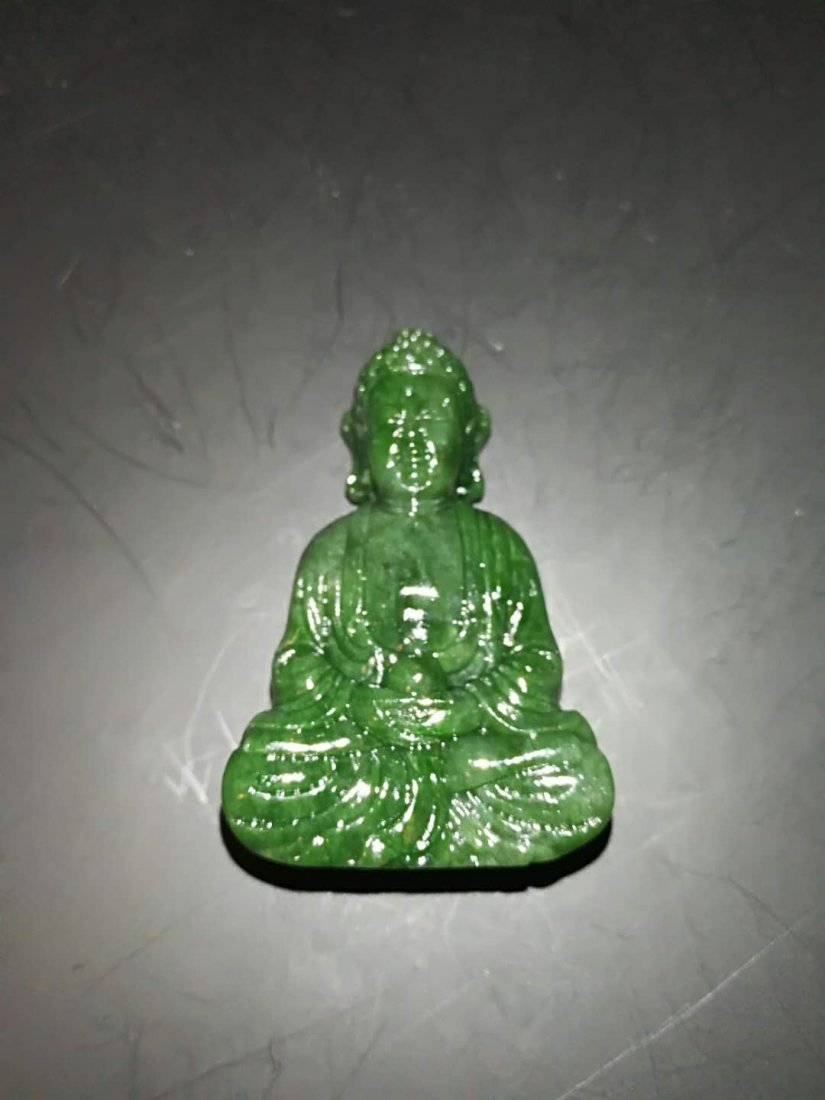 Chinese Qing Dynasty Hetian Three Jade Buddhas - 8