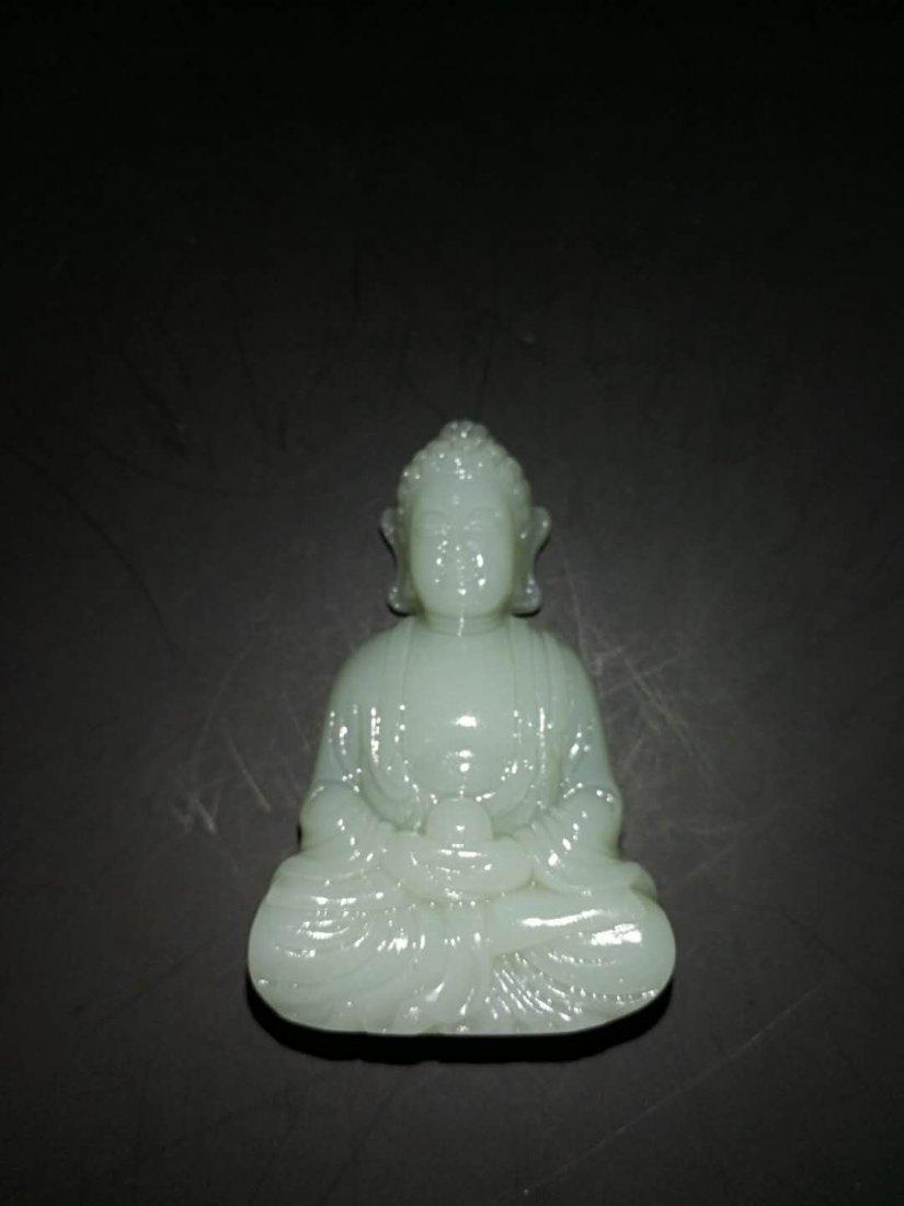 Chinese Qing Dynasty Hetian Three Jade Buddhas - 9