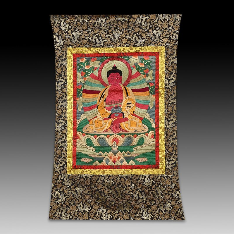 Chinese Qing Dynasty embroidery thangka