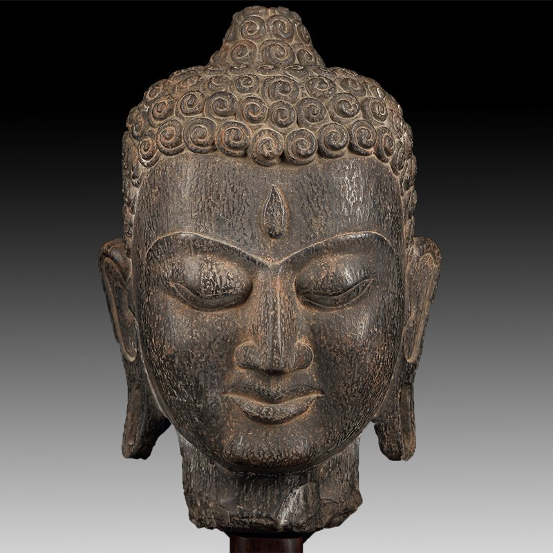 Chinese Antique Stone Buddha head - 5