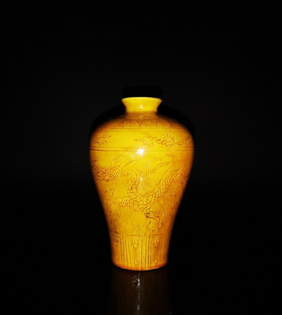 Chinese Yellow Glaze Dragon  Porcelain Vase