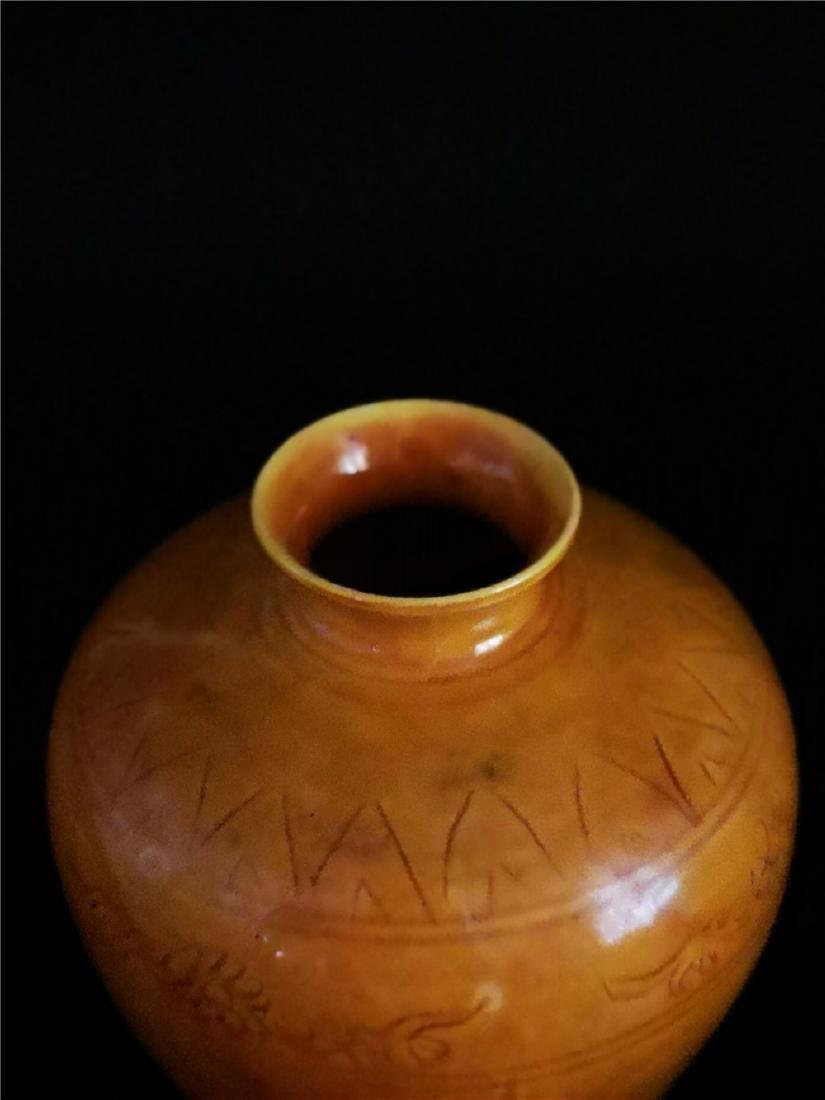 Chinese Yellow Glaze Dragon  Porcelain Vase - 4