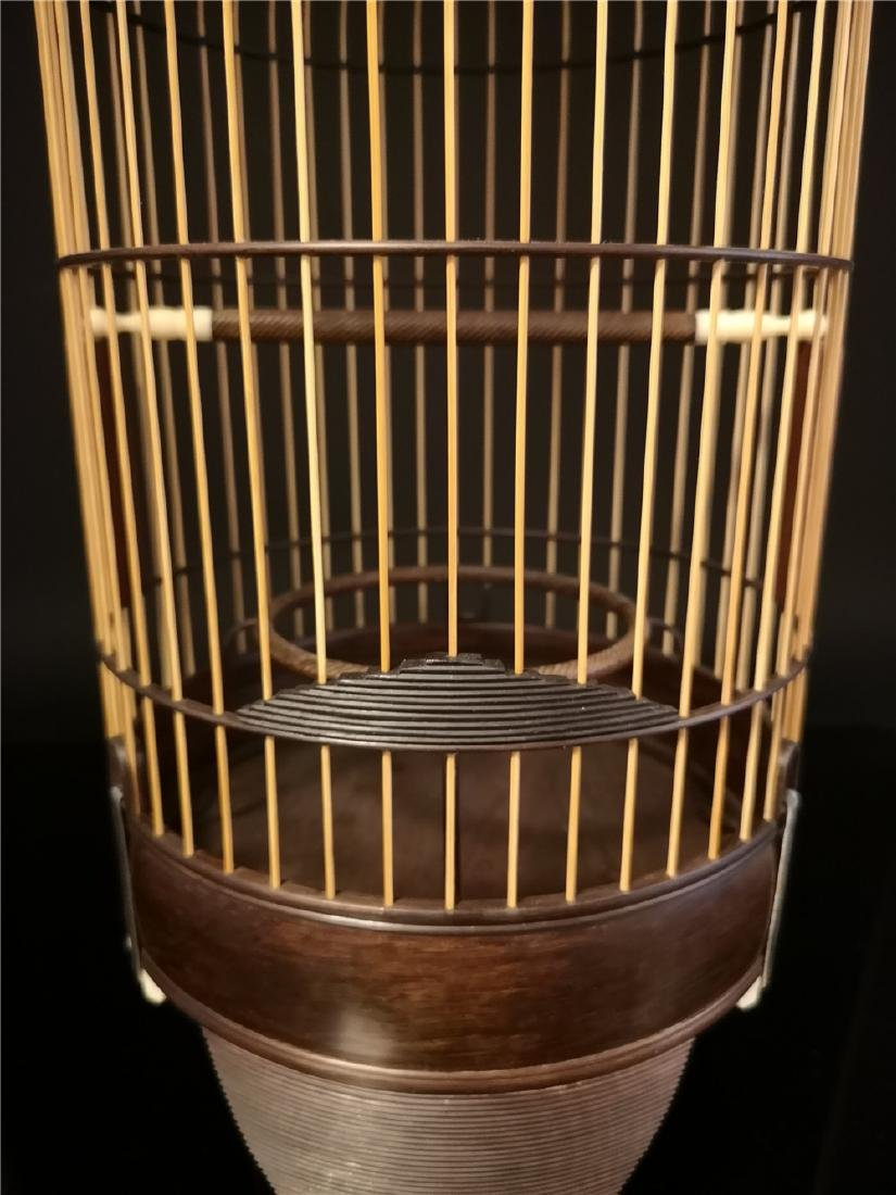 Chinese bamboo  and Red sandalwood bird cage - 2