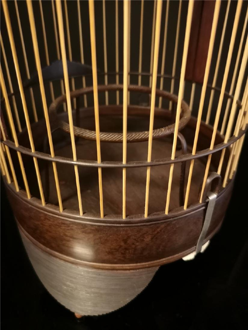 Chinese bamboo  and Red sandalwood bird cage - 3