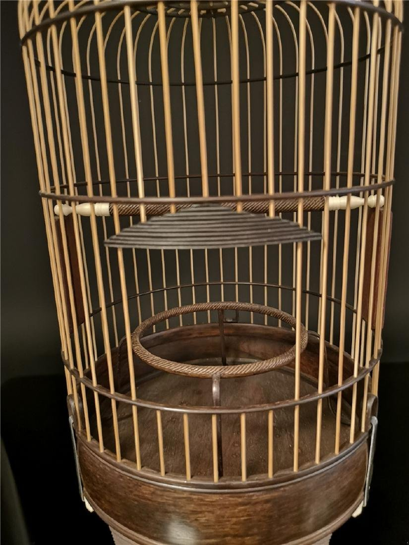 Chinese bamboo  and Red sandalwood bird cage - 6