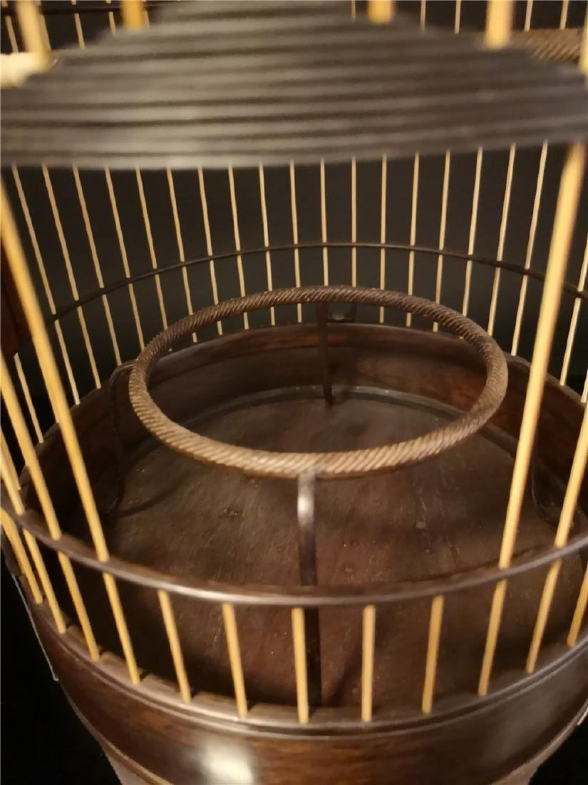 Chinese bamboo  and Red sandalwood bird cage - 8