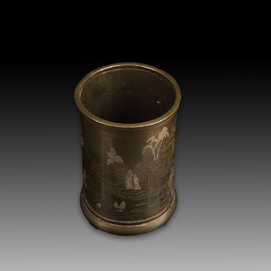 Chinese Bronze Brush Pot - 4