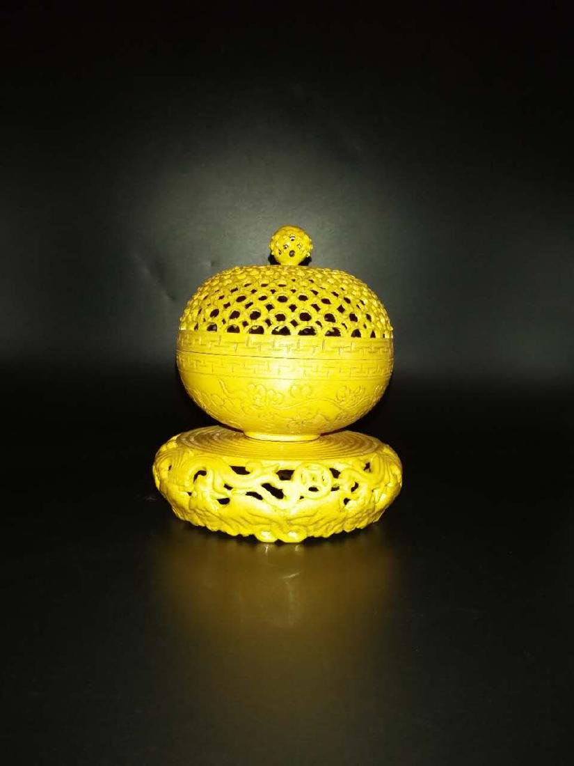 Antique Chinese Yellow can rotate incense burner - 10