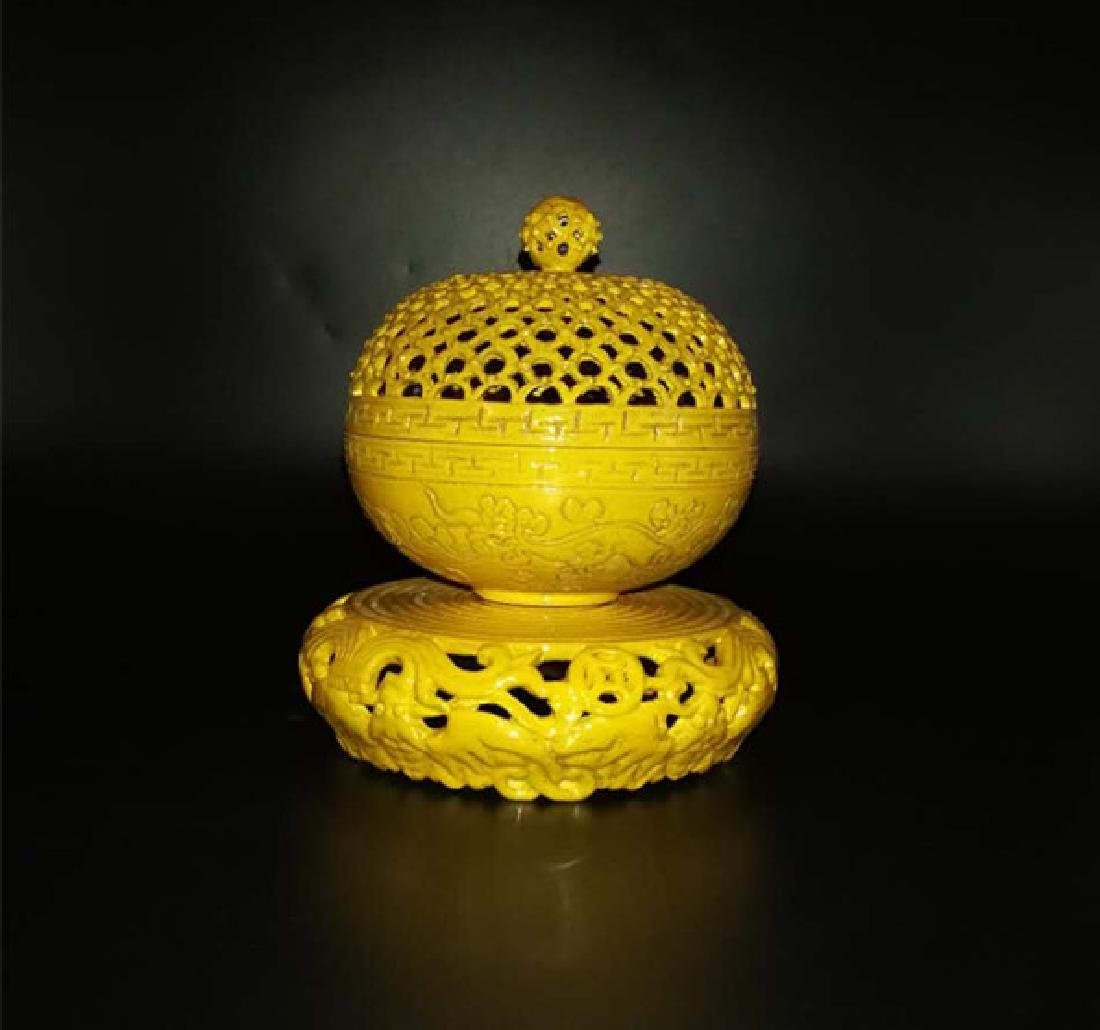 Antique Chinese Yellow can rotate incense burner