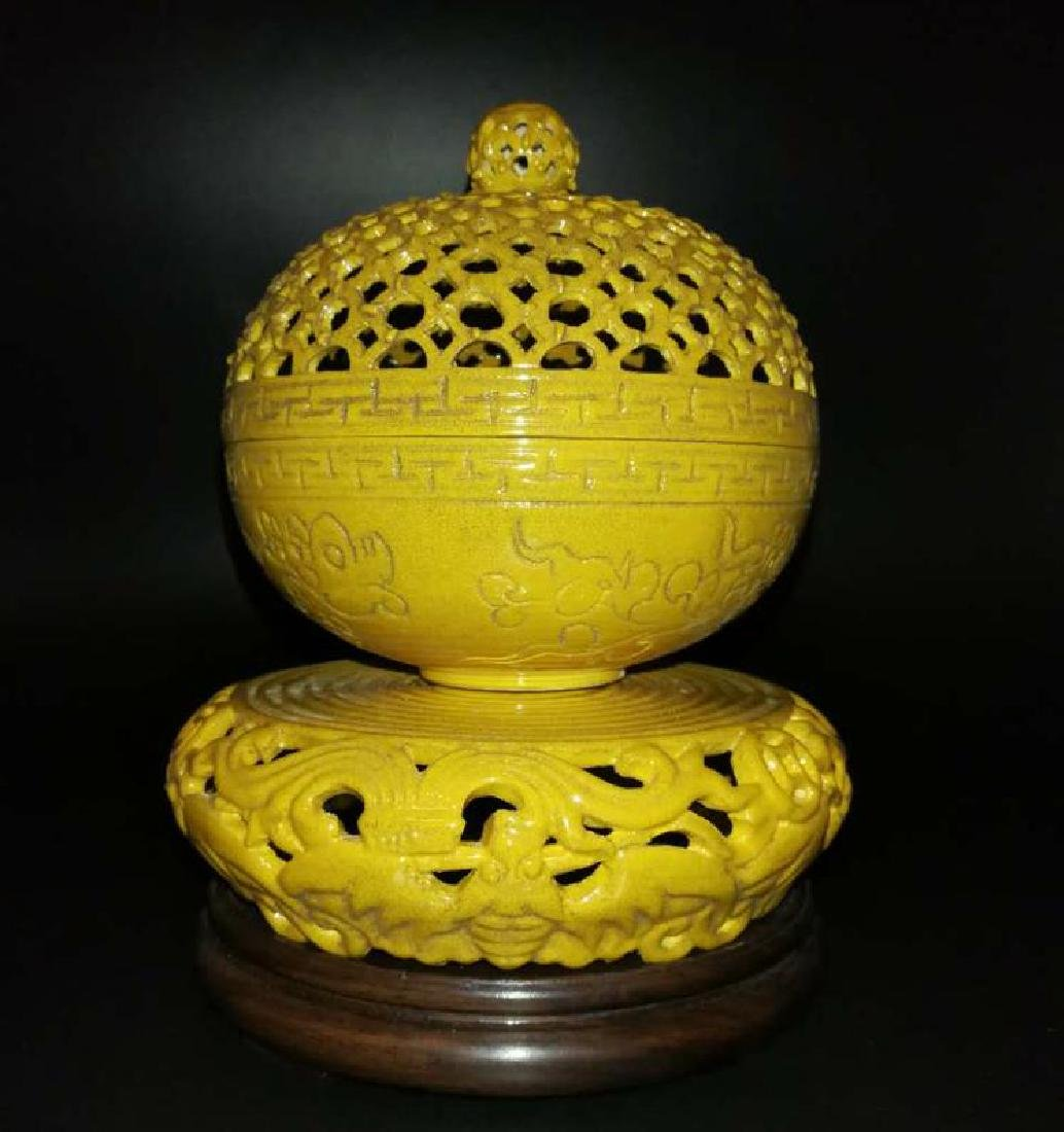 Antique Chinese Yellow can rotate incense burner - 2