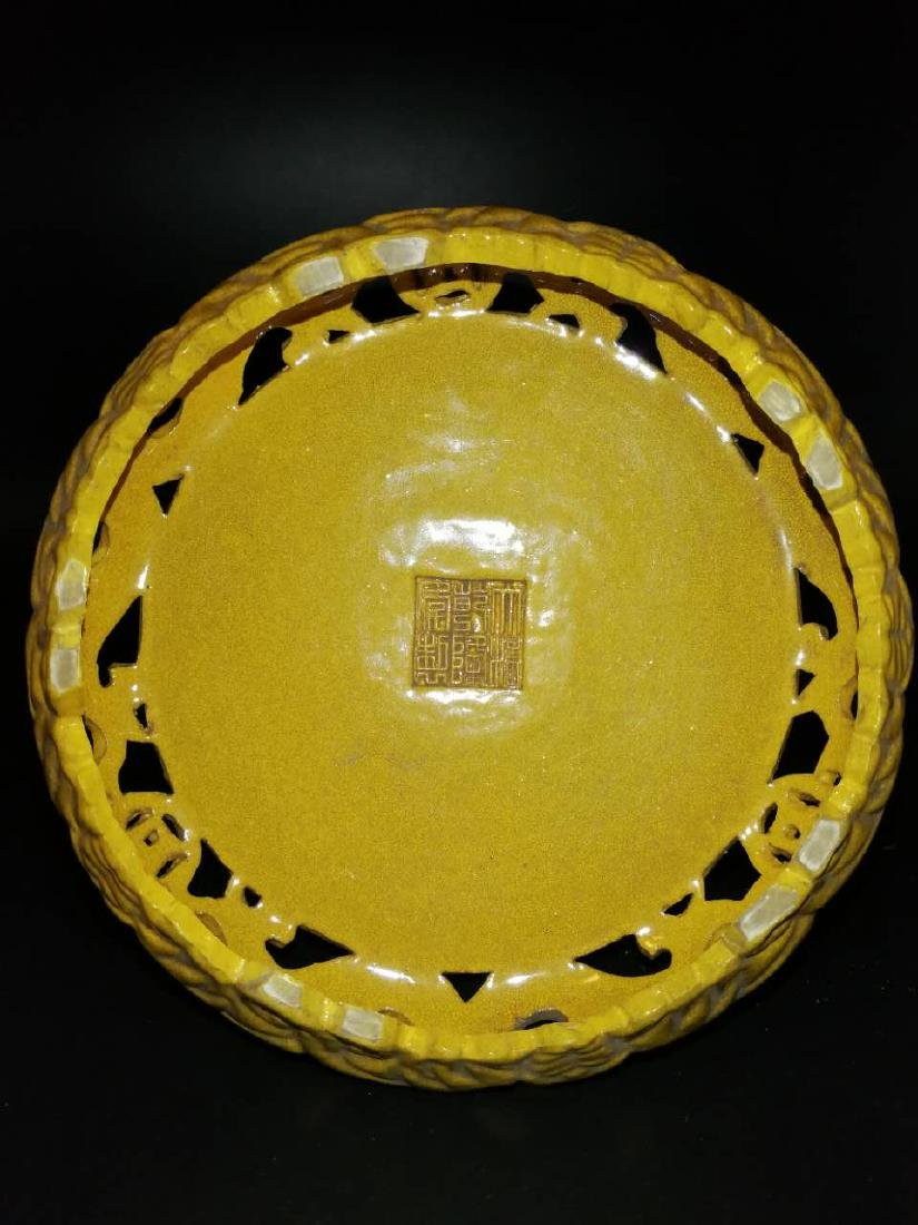 Antique Chinese Yellow can rotate incense burner - 6