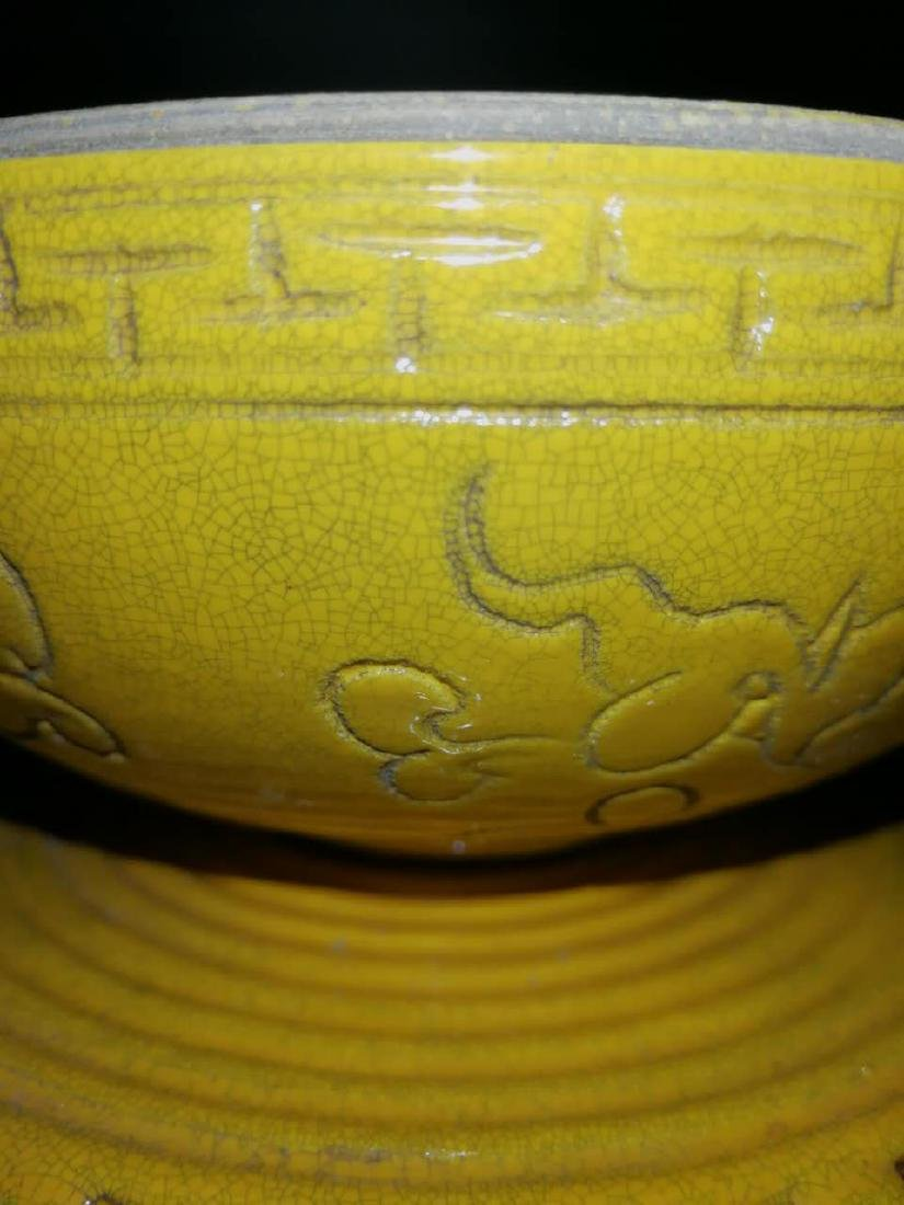 Antique Chinese Yellow can rotate incense burner - 7