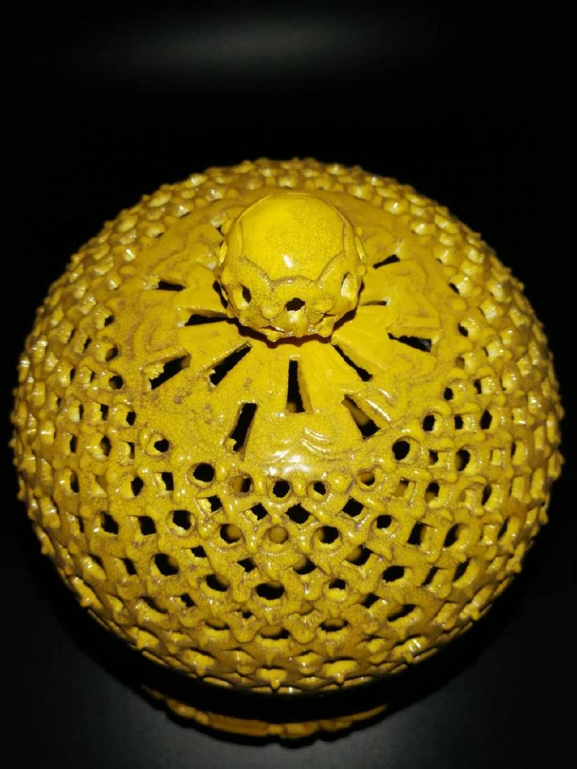 Antique Chinese Yellow can rotate incense burner - 8