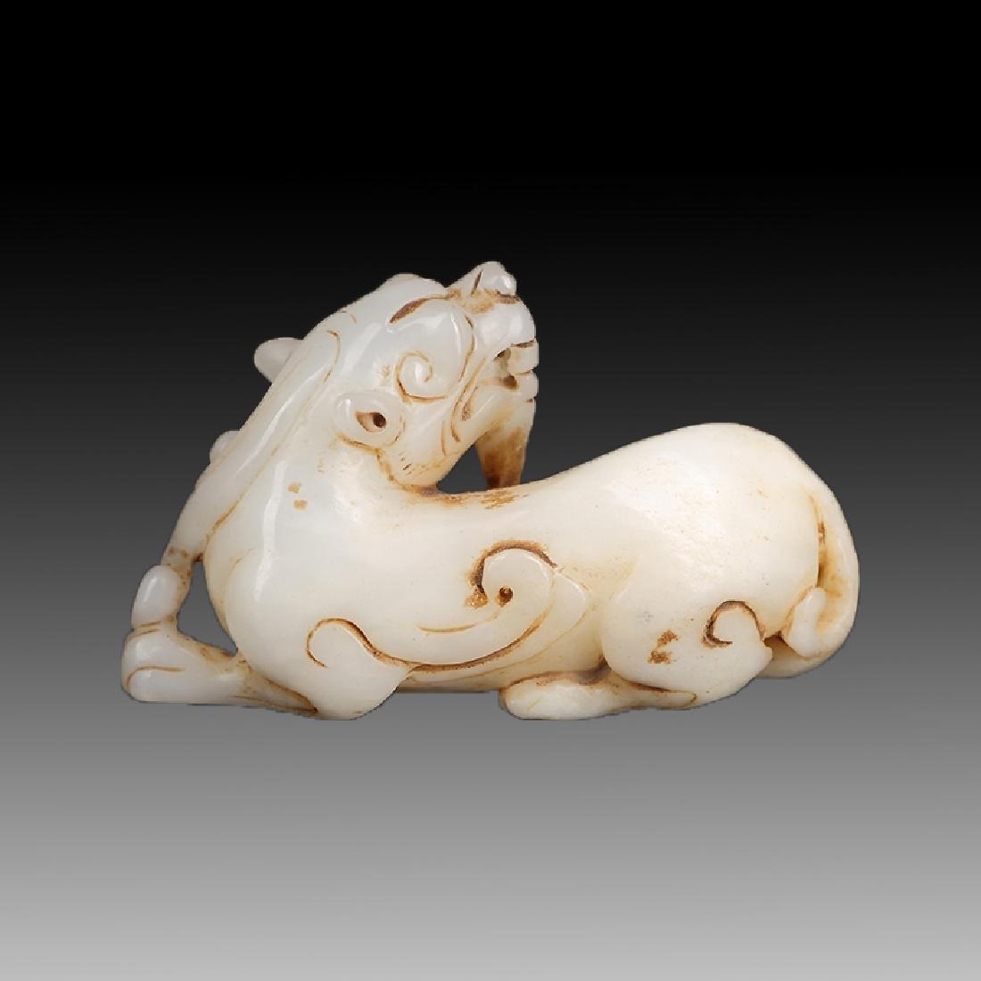 Chinese Qing Dynasty Hetian Jade Statue Pixiu