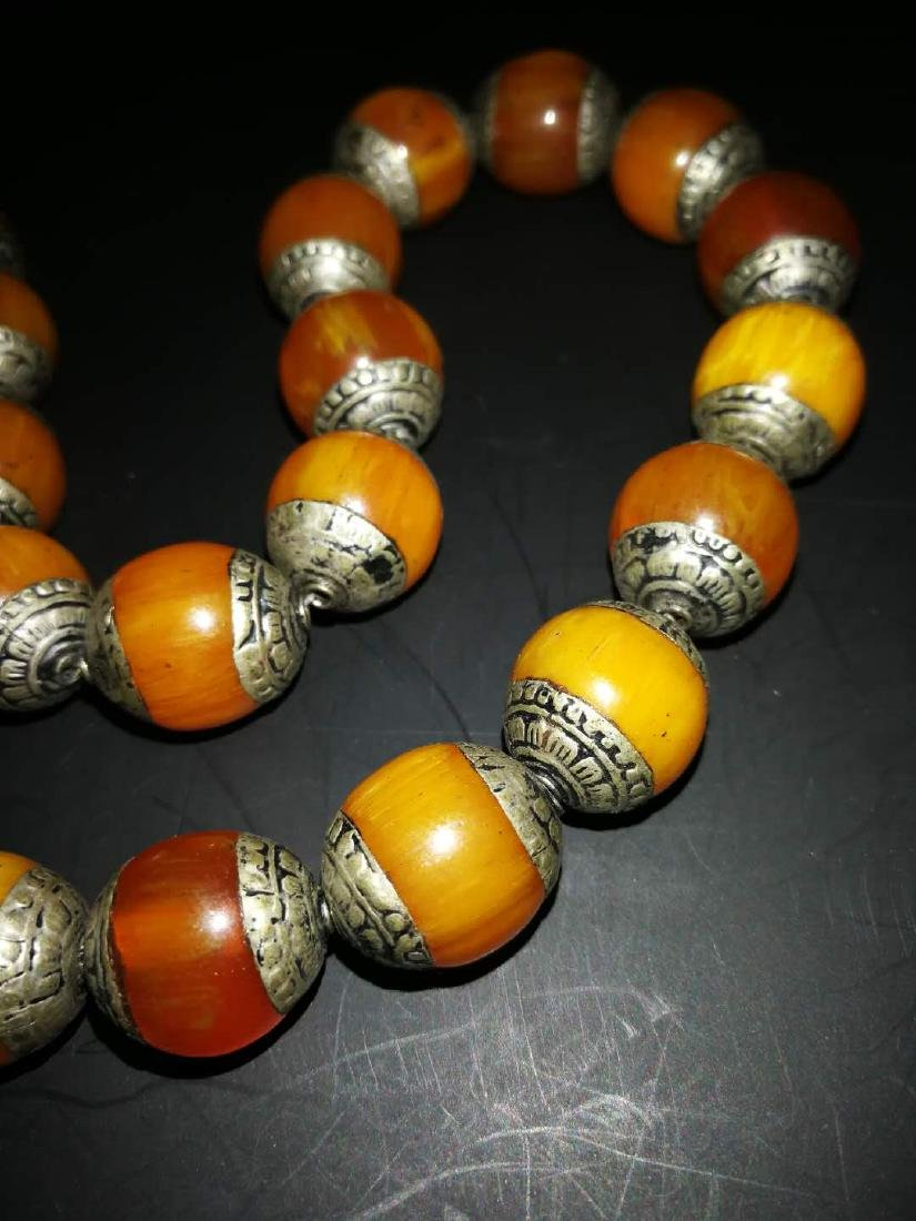 Chinese Amber and sterling silver  Necklace - 2