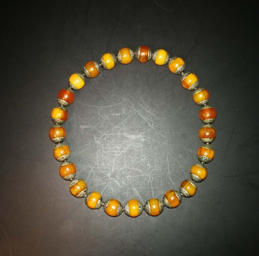 Chinese Amber and sterling silver  Necklace - 3