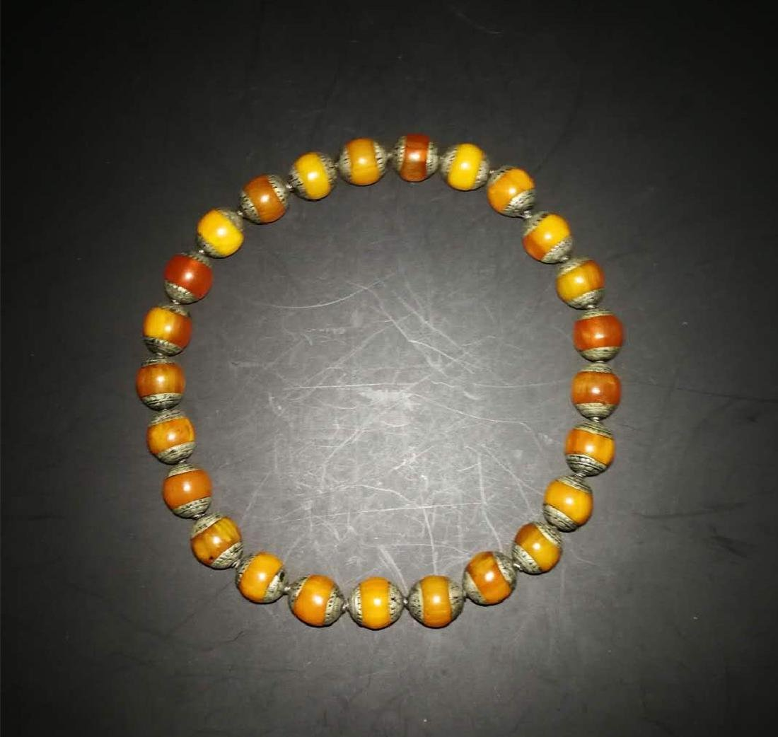 Chinese Amber and sterling silver  Necklace - 4
