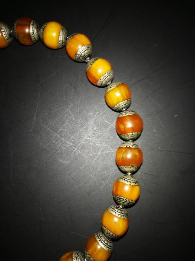Chinese Amber and sterling silver  Necklace - 5