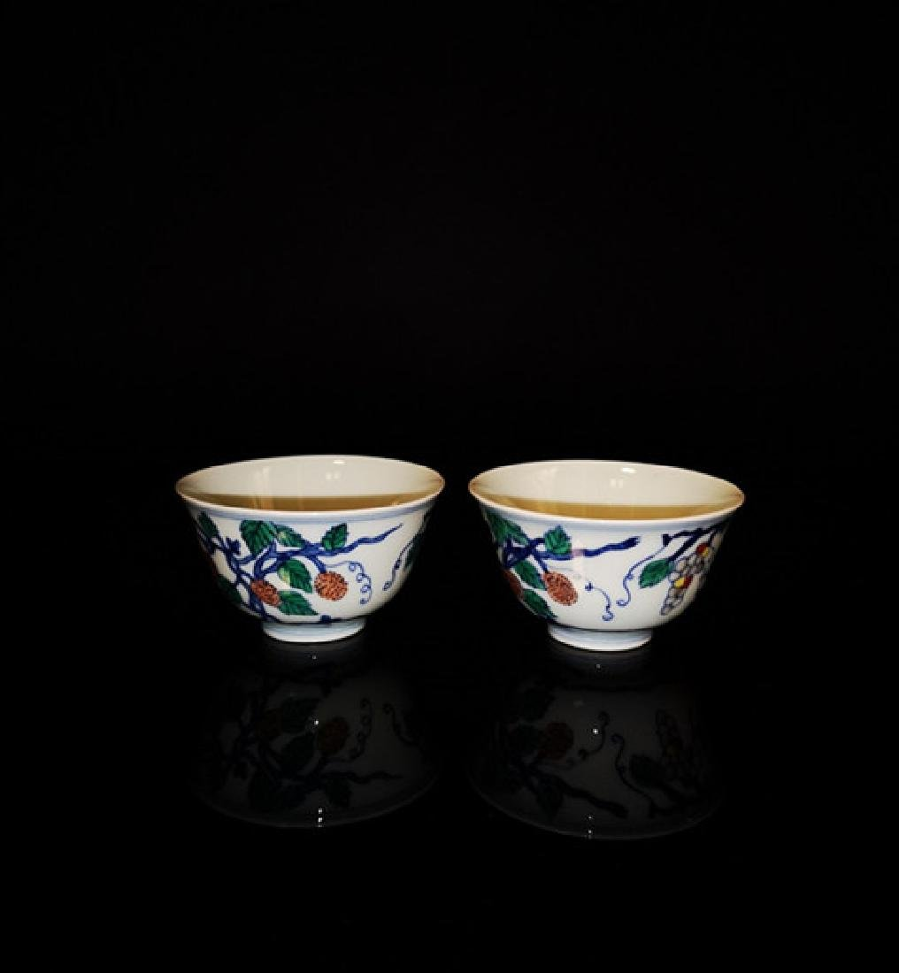 Pair of Chinese Dou cai  Porcelain Cups