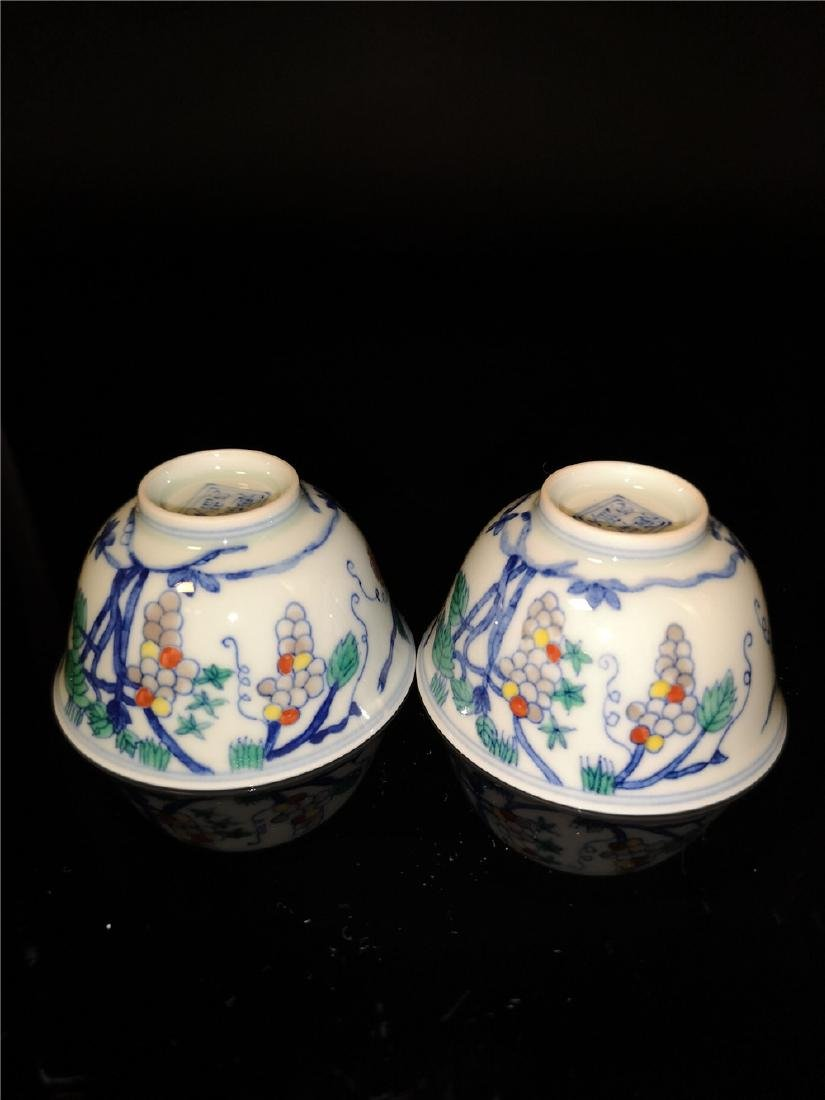 Pair of Chinese Dou cai  Porcelain Cups - 7