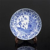 Chinese Blue and White Porcelain Plate Painted