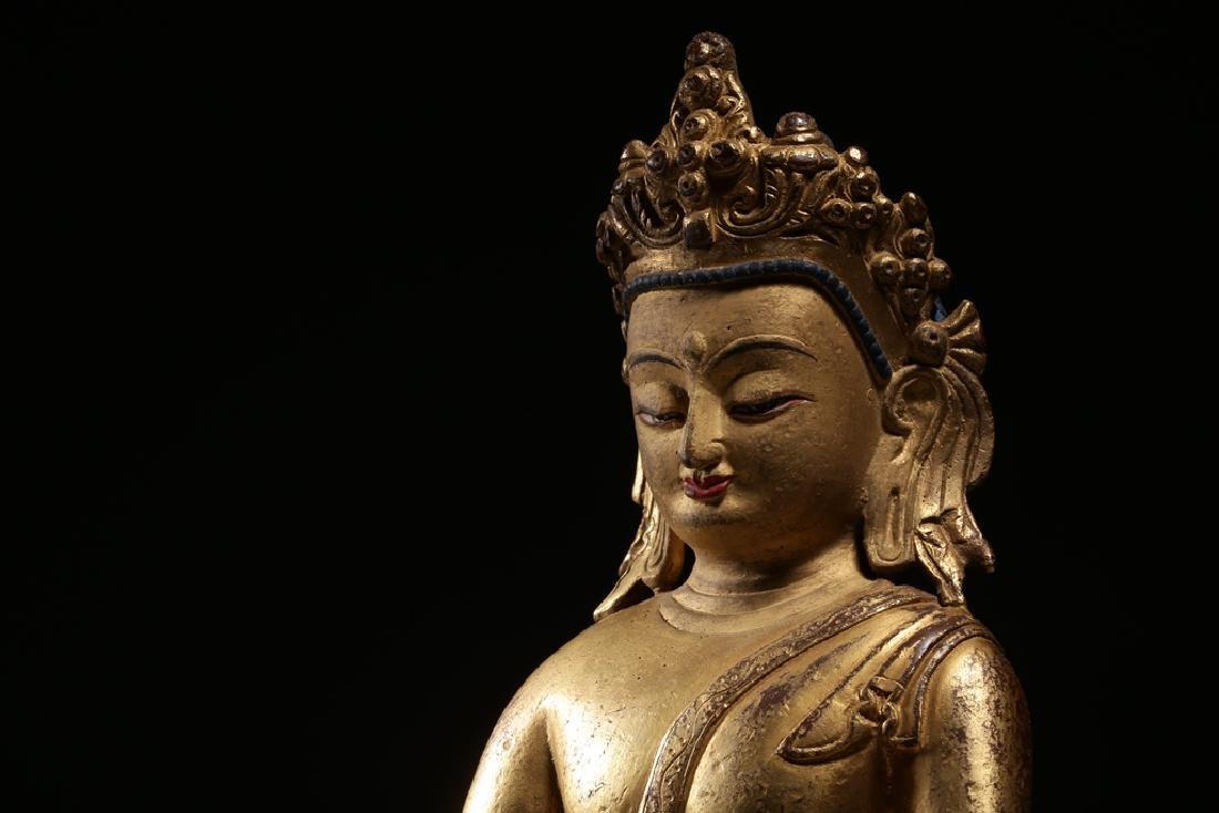 VERY FINE CHINESE BRONZE FIGURE OF BUDDHA - 10