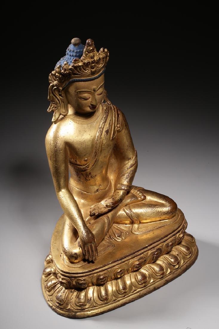 VERY FINE CHINESE BRONZE FIGURE OF BUDDHA - 11