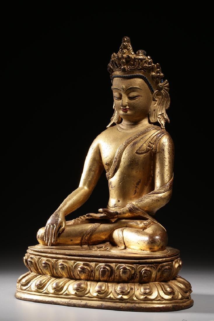 VERY FINE CHINESE BRONZE FIGURE OF BUDDHA - 2