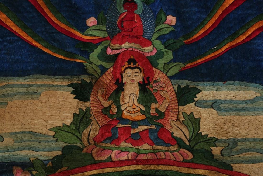 LARGE MING DYNASTY SILK EMBROIDERY THANGKA - 10