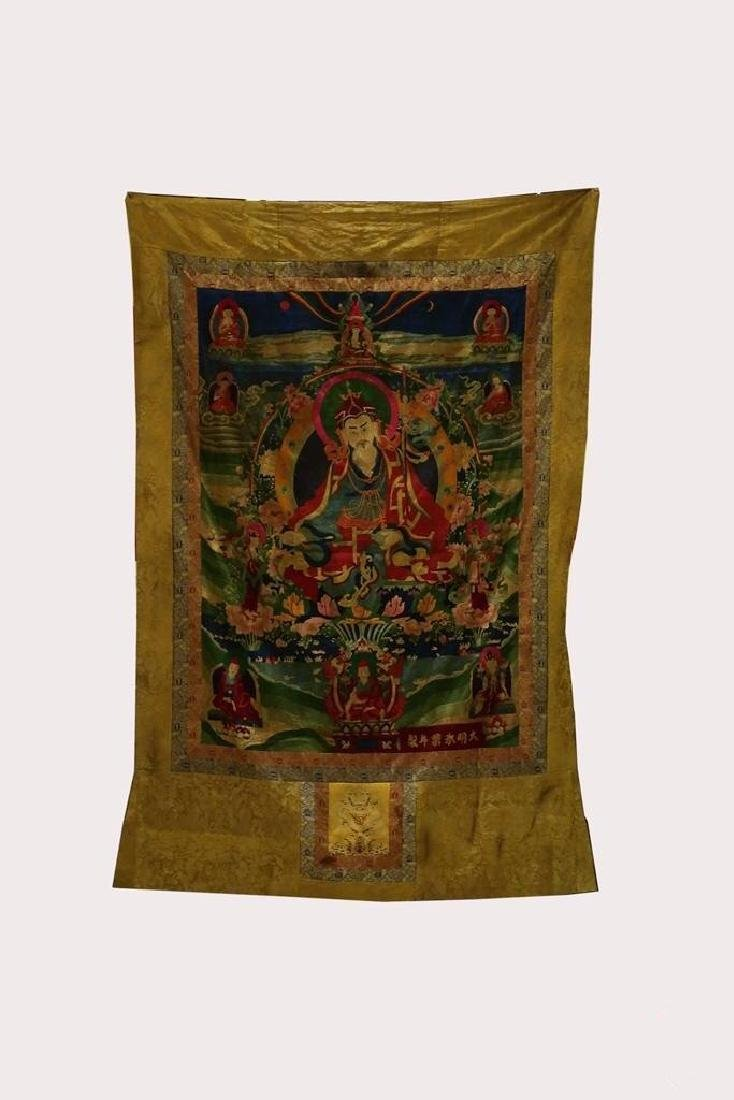 LARGE MING DYNASTY SILK EMBROIDERY THANGKA