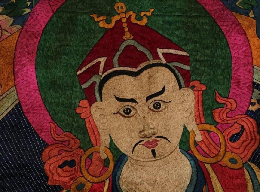 LARGE MING DYNASTY SILK EMBROIDERY THANGKA - 3