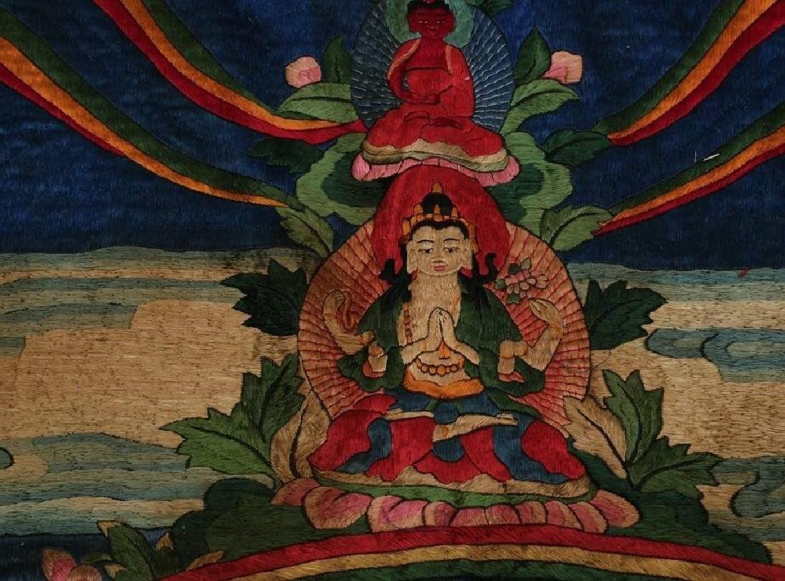 LARGE MING DYNASTY SILK EMBROIDERY THANGKA - 4