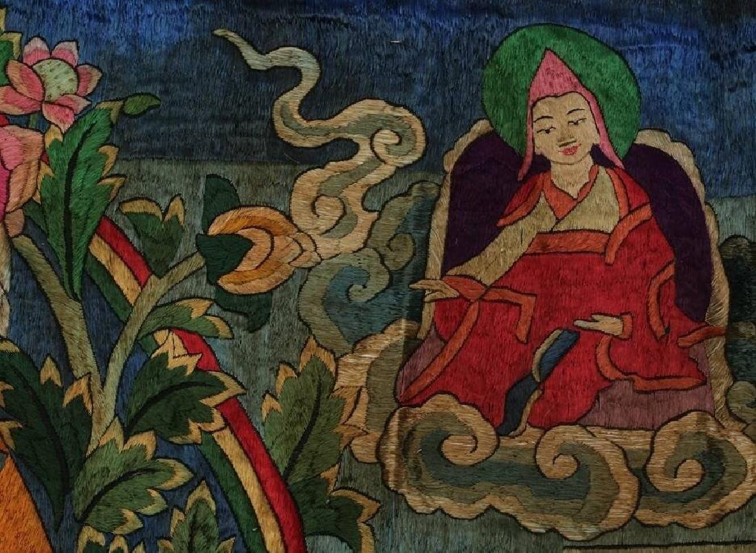 LARGE MING DYNASTY SILK EMBROIDERY THANGKA - 5