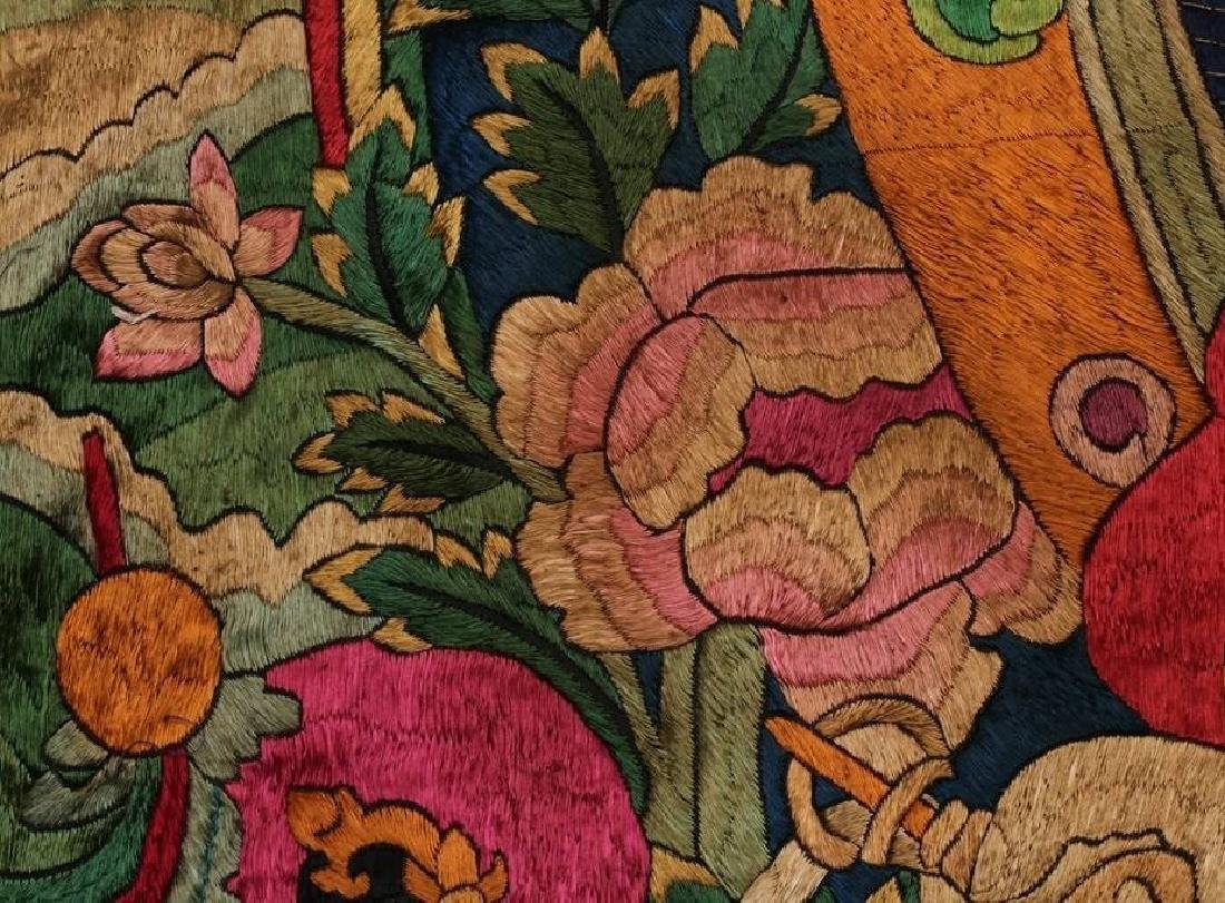 LARGE MING DYNASTY SILK EMBROIDERY THANGKA - 8