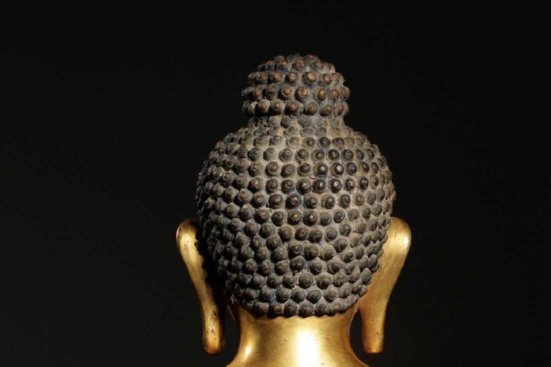 VERY FINE CHINESE BRONZE FIGURE OF BUDDHA - 8