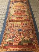 LARGE QING DYNASTY SILK EMBROIDERY THANGKA