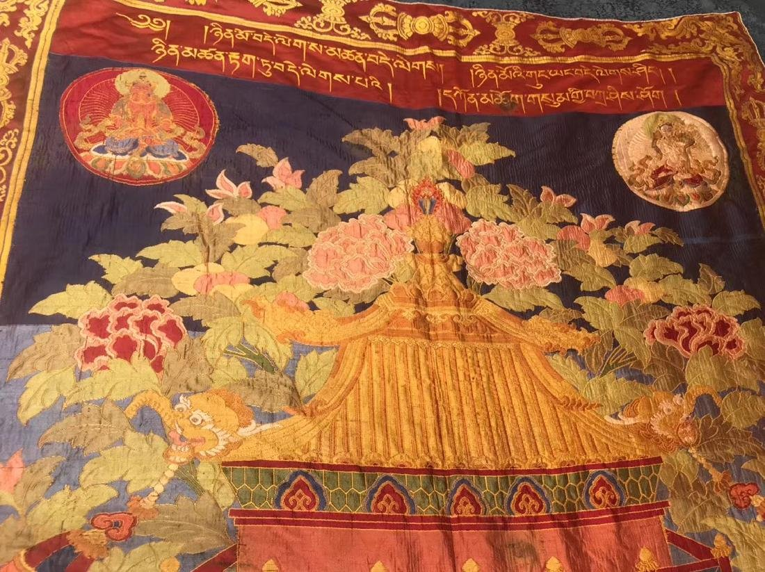 LARGE QING DYNASTY SILK EMBROIDERY THANGKA - 2