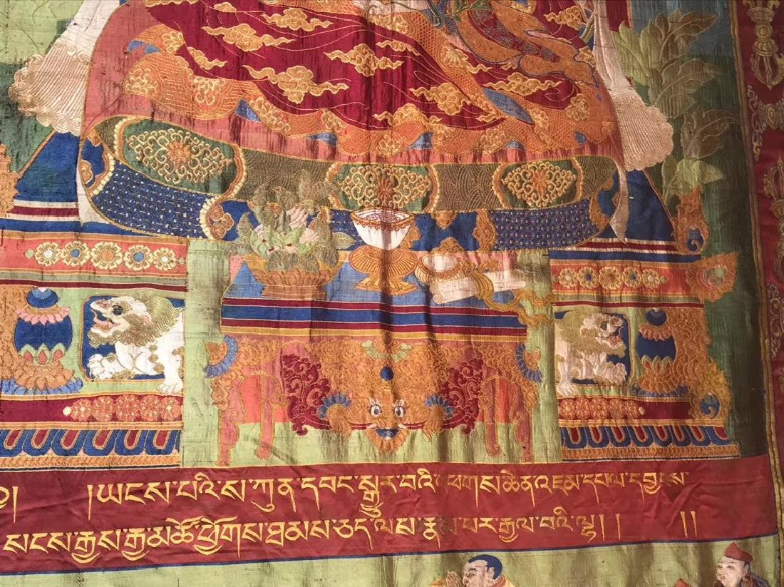 LARGE QING DYNASTY SILK EMBROIDERY THANGKA - 4