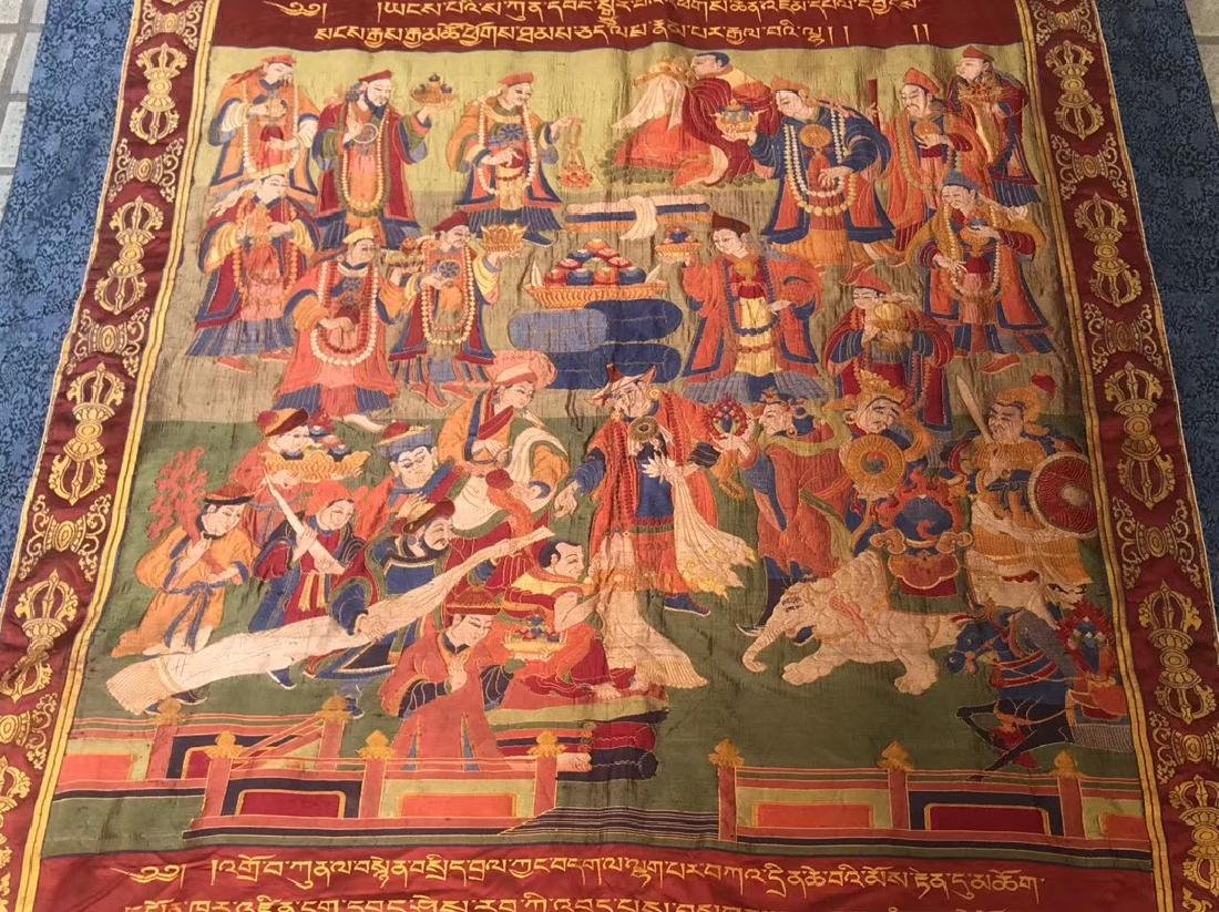 LARGE QING DYNASTY SILK EMBROIDERY THANGKA - 5