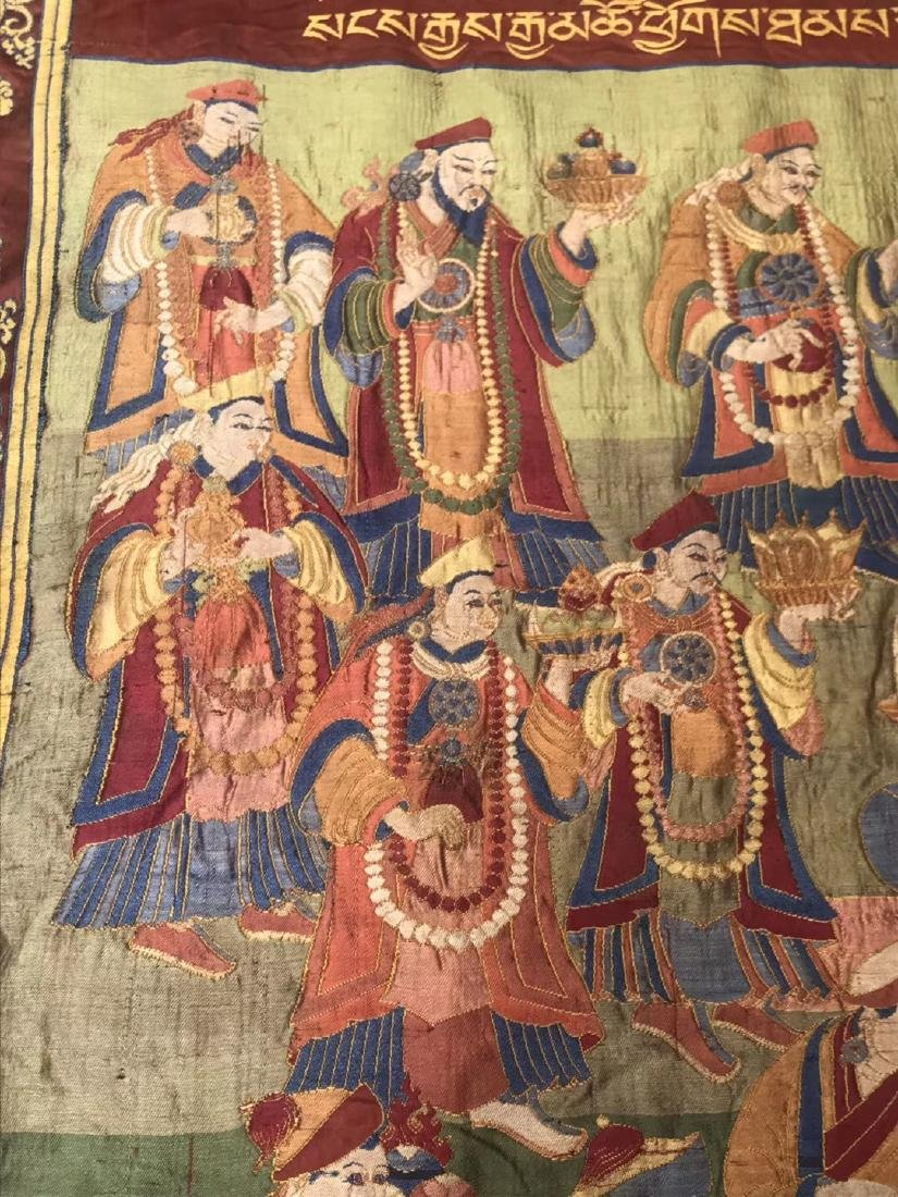LARGE QING DYNASTY SILK EMBROIDERY THANGKA - 6
