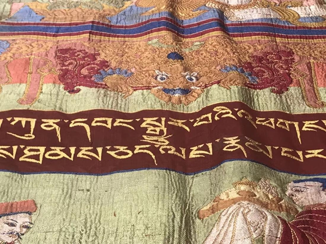LARGE QING DYNASTY SILK EMBROIDERY THANGKA - 7